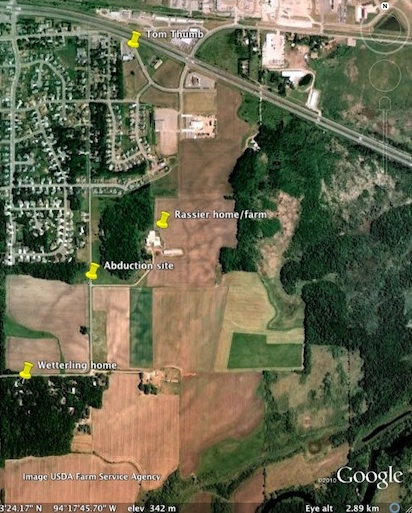 Map of Wetterling abduction
