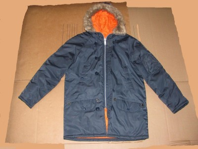 Vintage 70s-era parka with orange lining